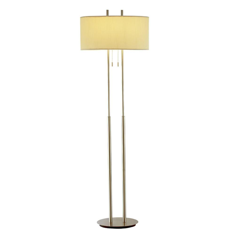 Duet 62 in. Satin Steel Floor Lamp