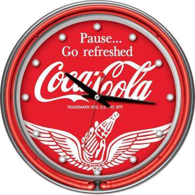 14 in. Coca-Cola Wings Neon Wall Clock