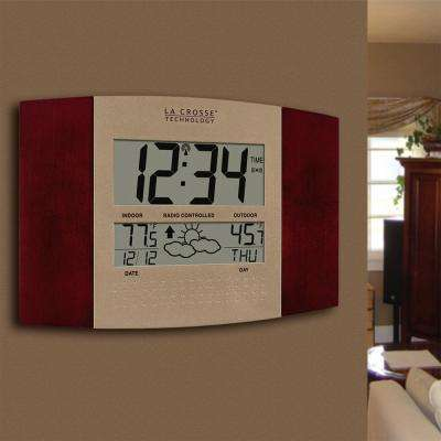 11-1/2 in. x 7-3/4 in. Digital Atomic Cherry  Wall Clock with Weather Forecast