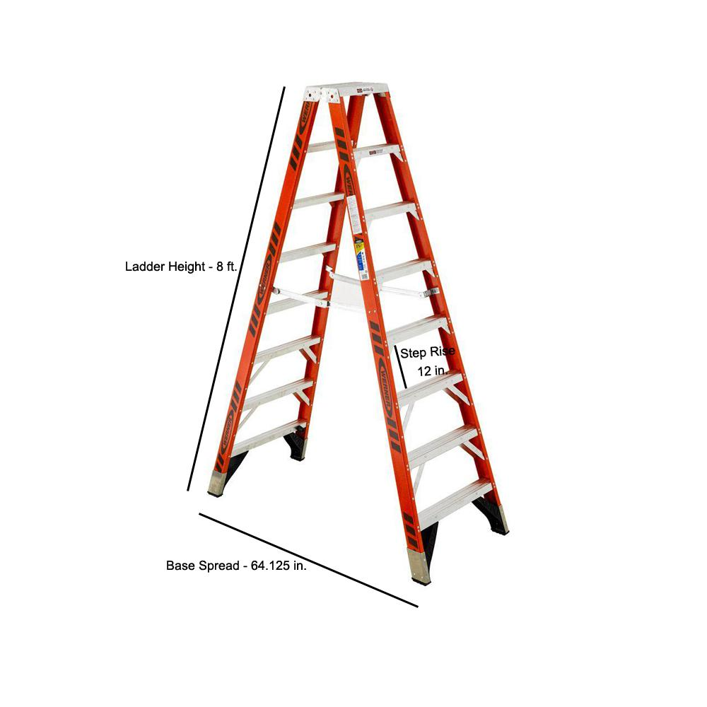 Werner 8 Ft Fiberglass Twin Step Ladder With 375 Lb Load Capacity Type Iaa Duty Rating T7408 The Home Depot