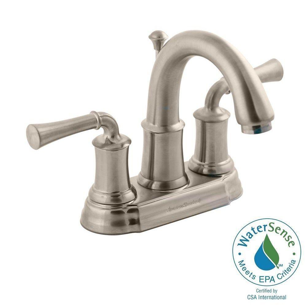 American Standard Portsmouth 4 in. Centerset 2-Handle High-Arc Bathroom Faucet with Speed Connect Drain in Brushed Nickel