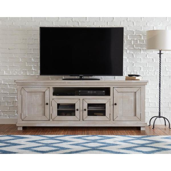 Willow 74 in. Gray Chalk Wood TV Stand Fits TVs Up to 74 in. with Storage Doors
