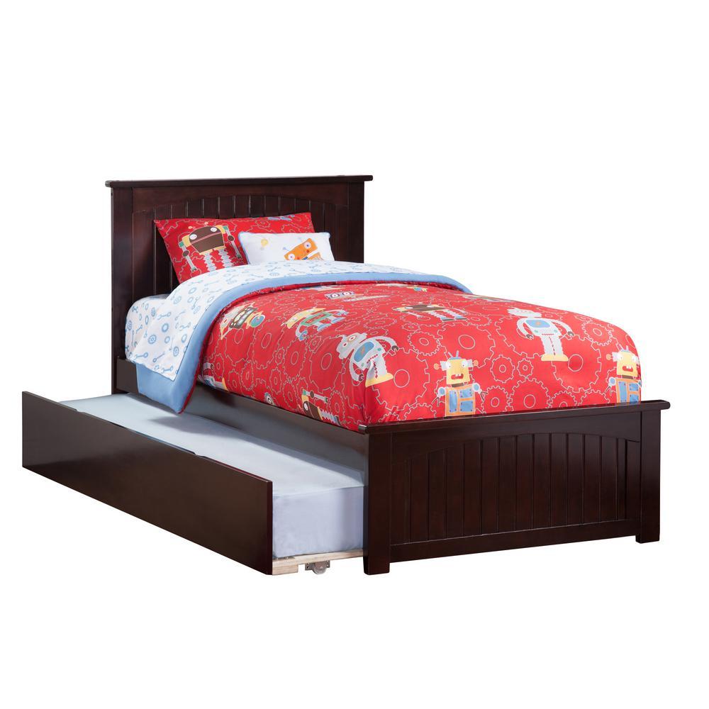 Atlantic Furniture Nantucket Espresso Twin Platform Bed with Matching Foot Board