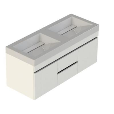 Viteli + Genova 48 in. W x 19 in. D Vanity in White with Cultured Marble Vanity Top in White with Double White Basin