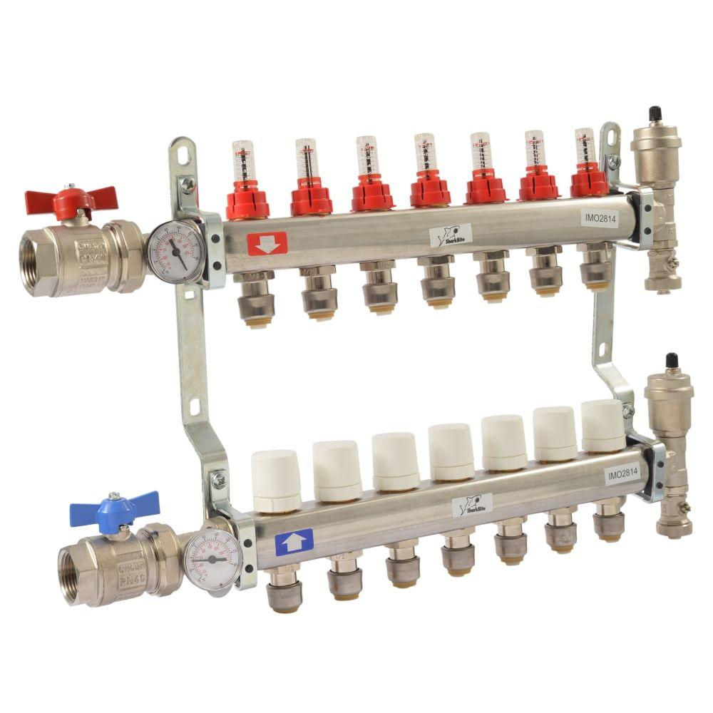 SharkBite 1 in. NPT Inlet x 1/2 in. Push-to-Connect Stainless Steel 7-Outlet Radiant Heating Manifold