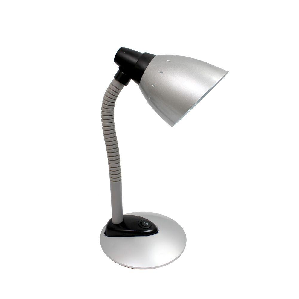 Simple Designs 16.34 in. Silver High Power LED Desk Lamp with Flexible Hose Neck