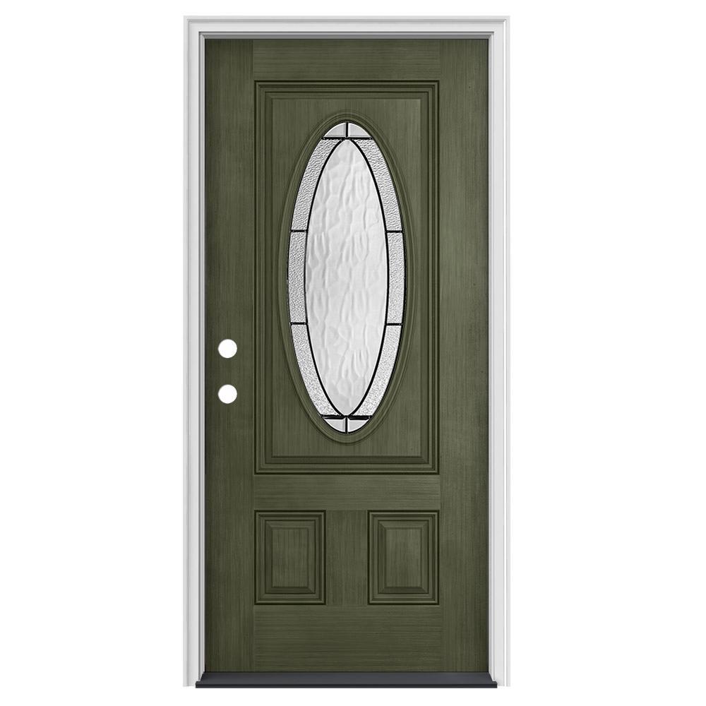 34 in. x 80 in. 3/4 Oval Lite Wendover Juniper Stained Fiberglass Prehung Right-Hand Inswing Front Door