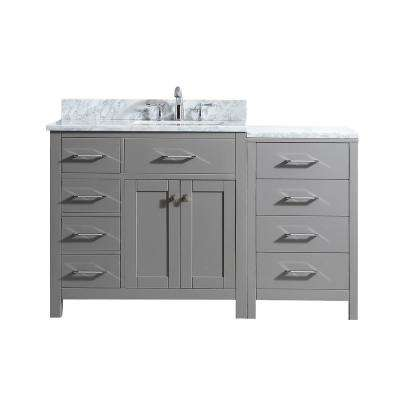 Caroline Parkway 57 in. W Single Bath Vanity in Cashmere Grey with Marble Vanity Top and Square Basin with Faucet
