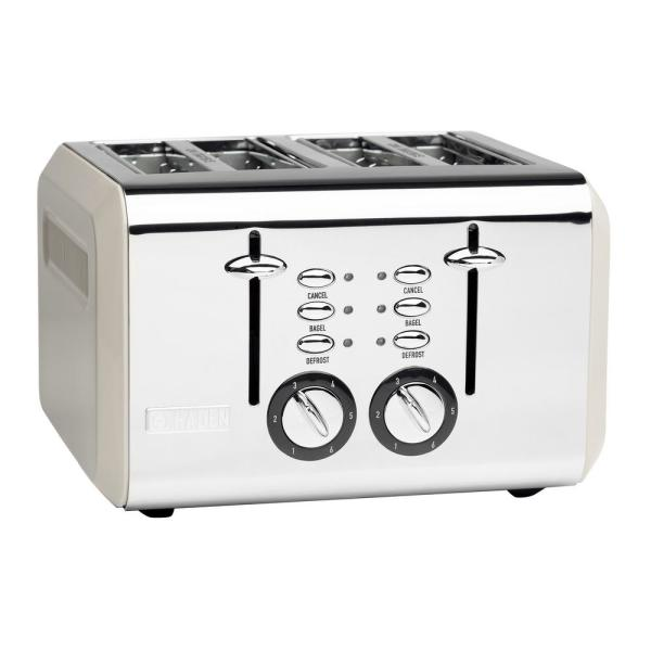 Cotswold 1500-Watt 4-Slice Wide Slot Putty Retro Toaster with Removable Crumb Tray and Adjustable Settings