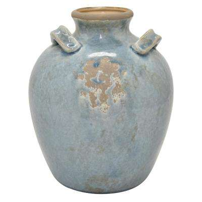 11 in. Blue Ceramic Vase
