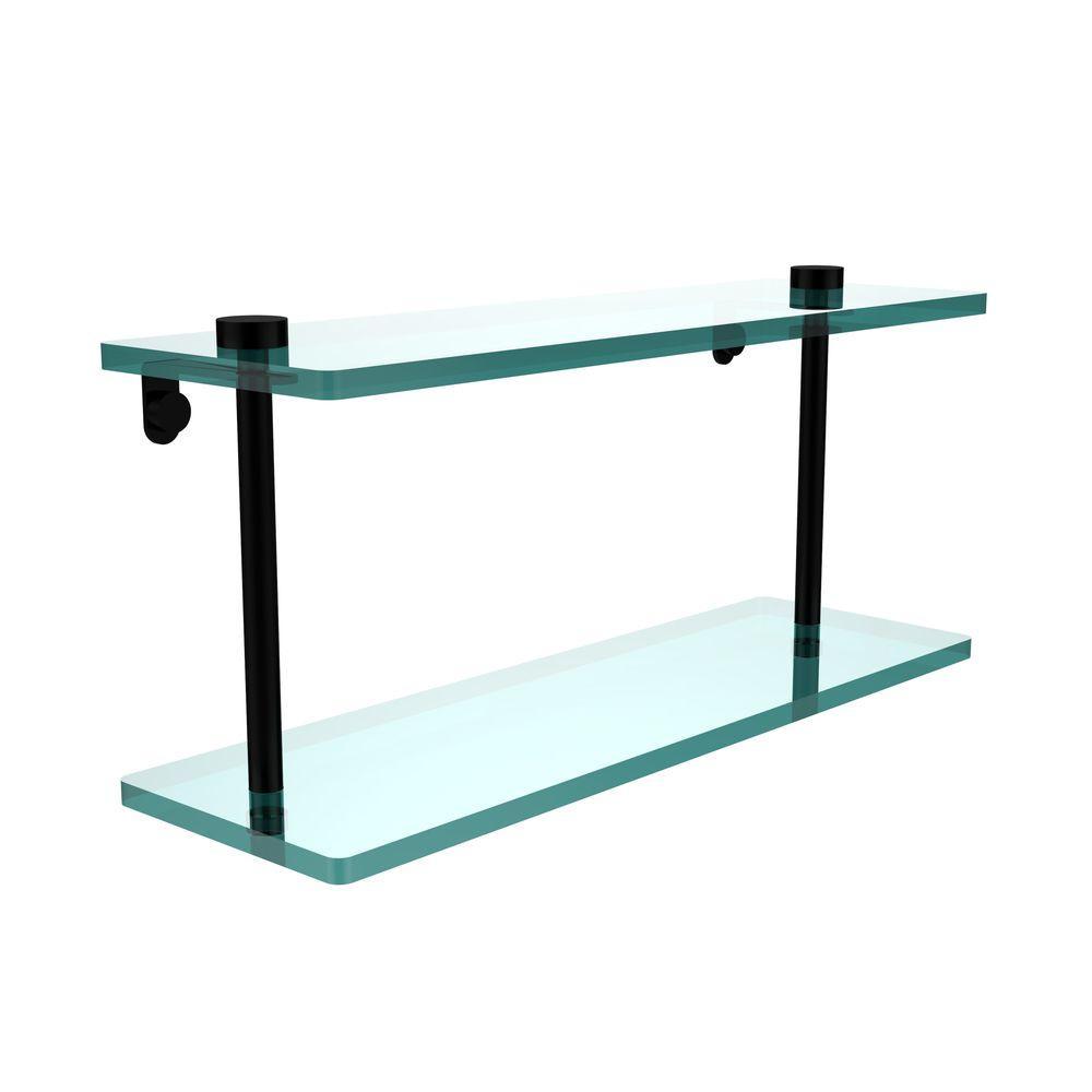 16 in. L x 8 in. H x 5 in. W 2-Tier Clear Glass Vanity Bathroom Shelf in Matte Black