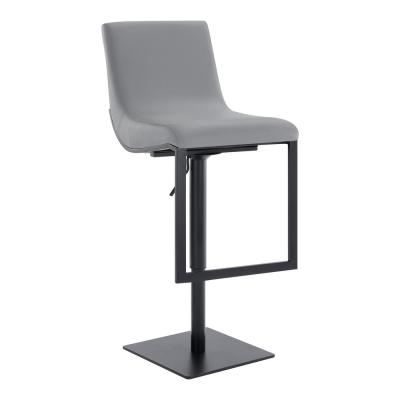 Flint Contemporary Adjustable 38-46.5 in. Swivel Barstool in Matte Black Finish and Grey Faux Leather