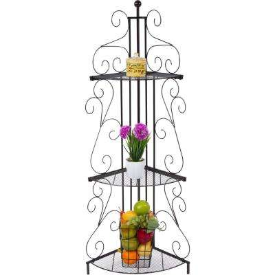 14 in. x 14 in. 3-Tier Black Metal Corner Decorative Shelf