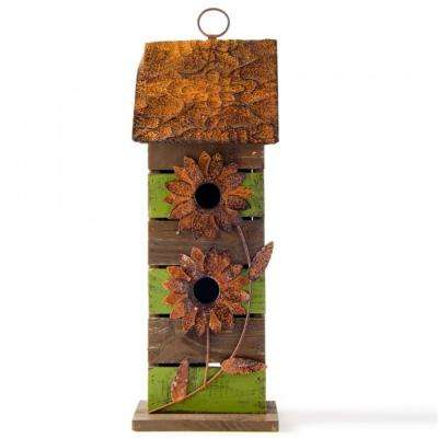 14.45 in. H Solid Wood Hanging 2-Tiered Distressed Birdhouse with Flowers
