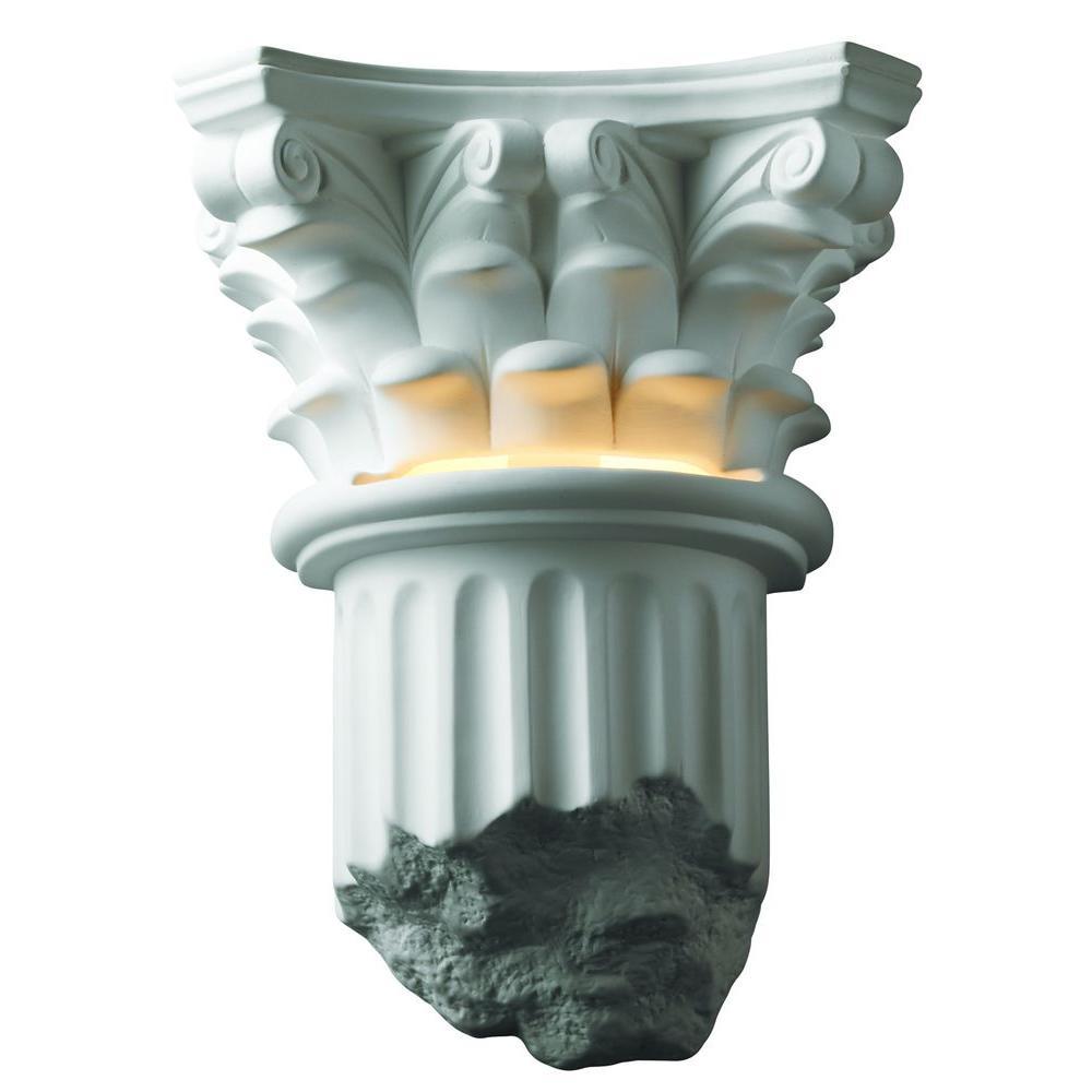 Filament Design Leonidas 1-Light Paintable Ceramic Bisque Corinthian Column Sconce