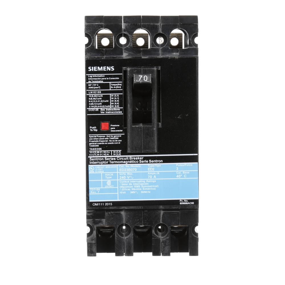 siemens 70 amp 3 pole type ed 10 ka circuit breaker ed23b070 the home depot. Black Bedroom Furniture Sets. Home Design Ideas