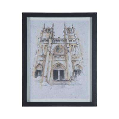 """29 in. x 23 in. """"National Cathedral"""" Hand Painted Framed Wall Art"""