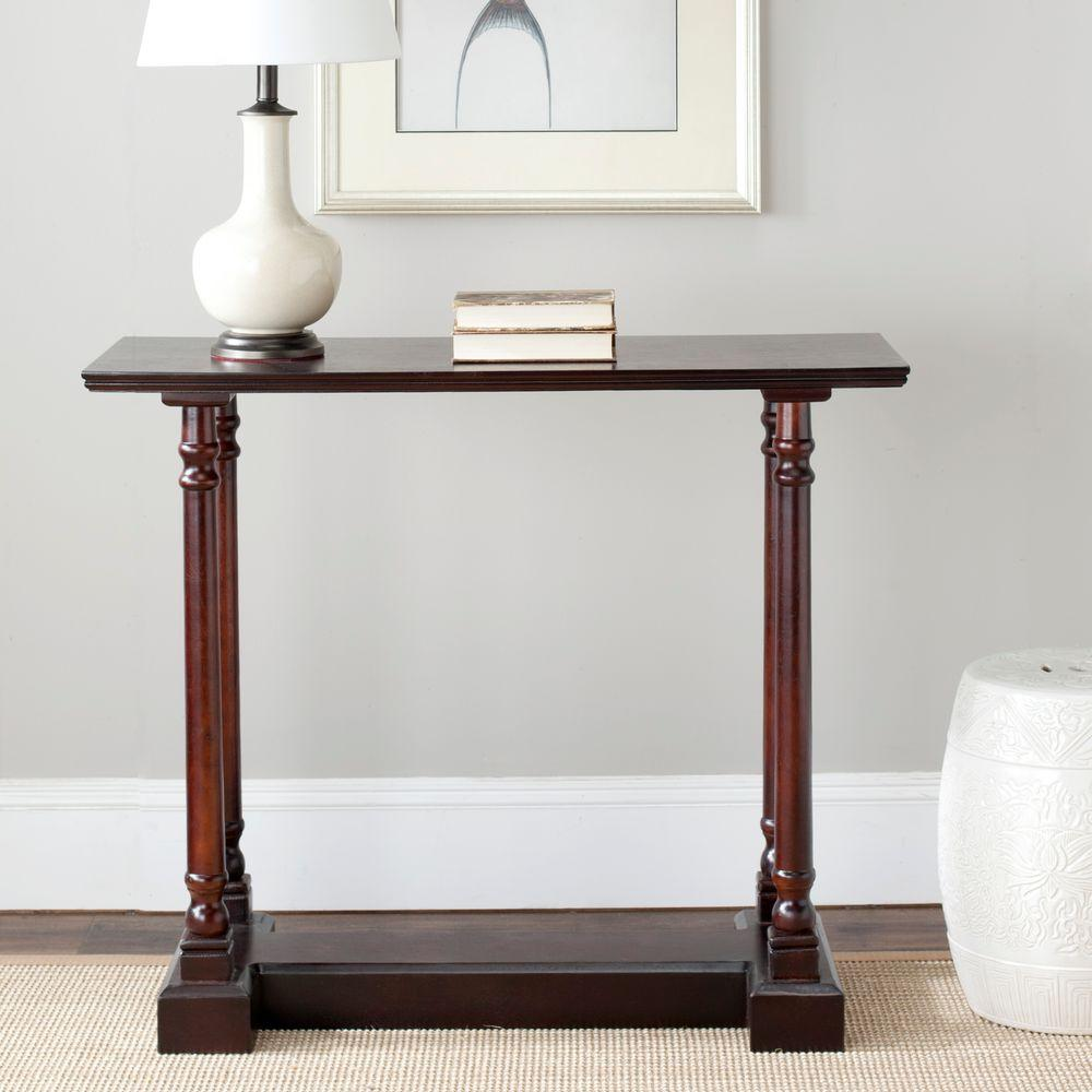 Safavieh regan dark cherry console table amh5708d the home depot safavieh regan dark cherry console table geotapseo Choice Image
