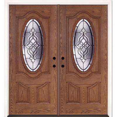 74 in. x 81.625 in. Lakewood Patina 3/4 Oval Lite Stained Medium Oak Right-Hand Fiberglass Double Prehung Front Door