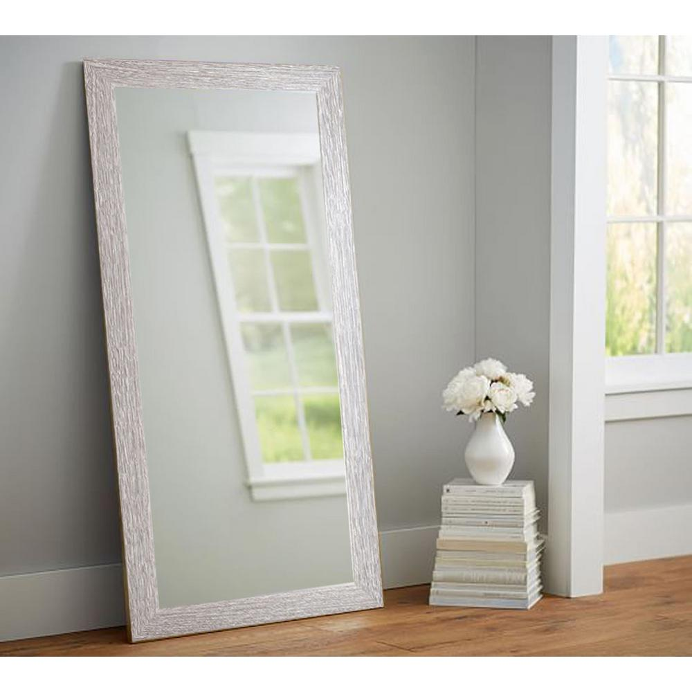 Rich Rustic Rectangle Brown/White Floor Mirror-AV36TALL - The Home Depot