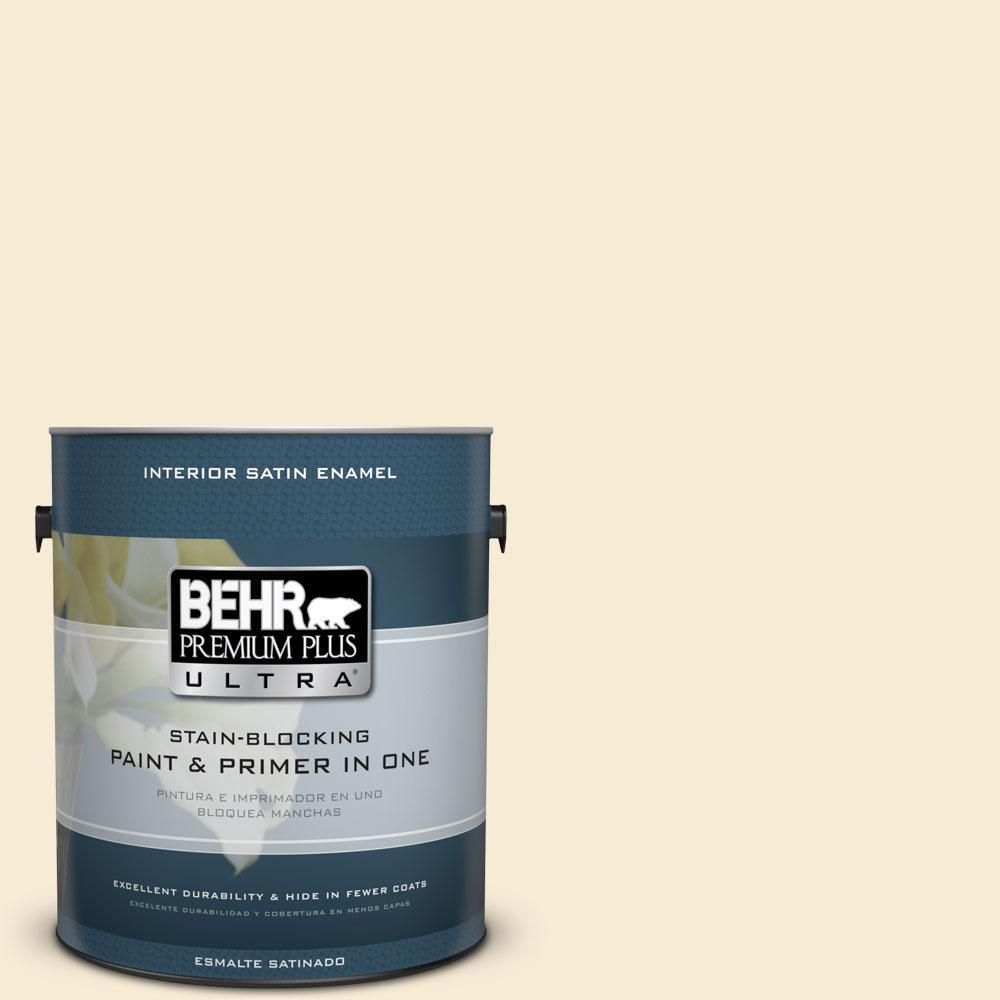 BEHR Premium Plus Ultra 1-gal. #330C-1 Honeysuckle White Satin Enamel Interior Paint