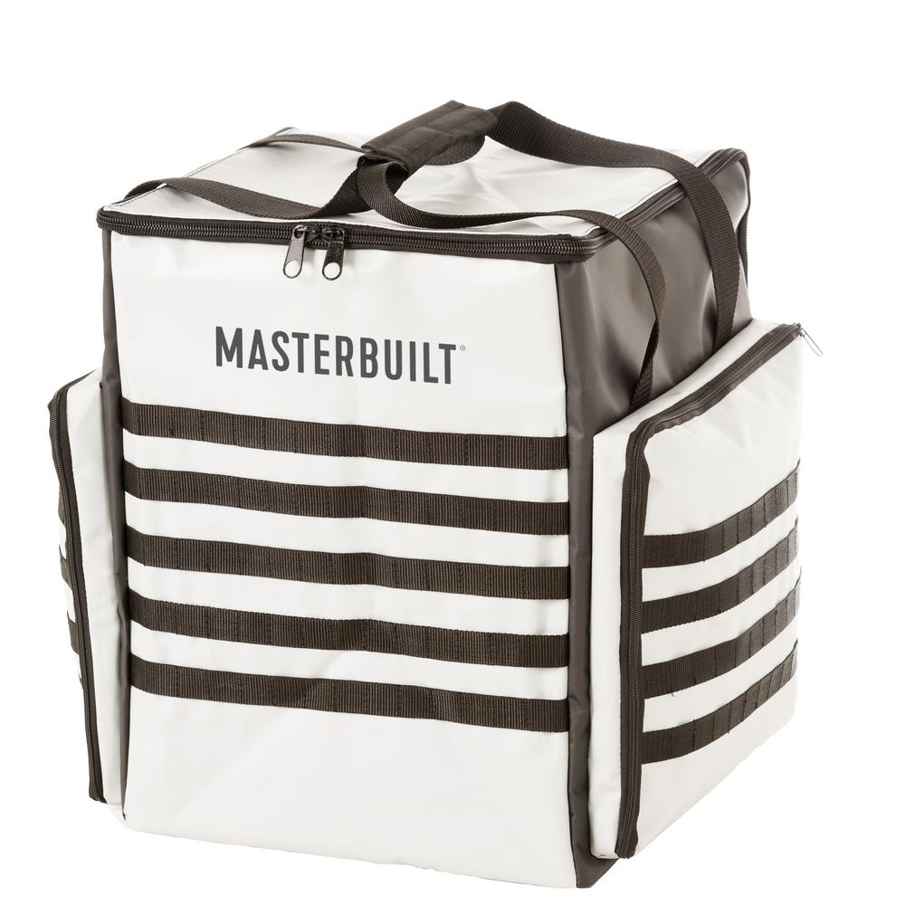 Patio-2-Portable Smoker Bag Protect your Masterbuilt Patio-2-Portable Smoker with this bag. The easy-grip carry handles make it perfect for transport and storage, and the side pockets can hold smoker accessories. Master the art of smoking with Masterbuilt.