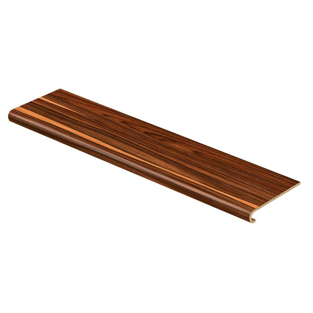 Cap A Tread African Wood Dark 94 in. Long x 12-1/8 in. Deep x 1-11/16 in. Height Vinyl to Cover Stairs 1 in. Thick