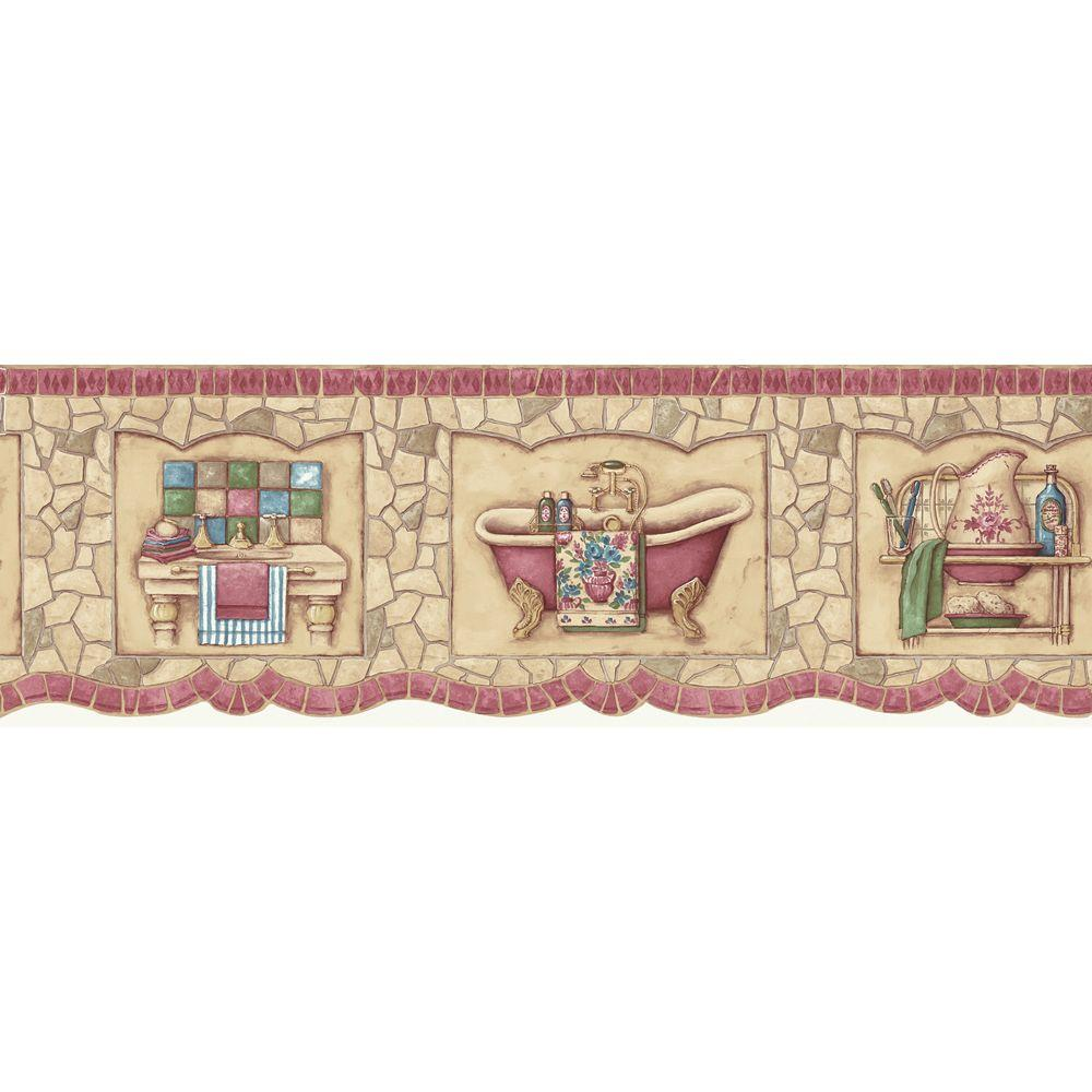 The Wallpaper Company 6.75 in. x 15 ft. Red Mosaic Bath Tub Border