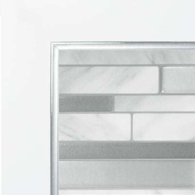 Smart Edge Brillo 0.27 in. W x 18 in. H Silver Self-Adhesive Decorative Mosaic Wall Tile Trim (8-Pack)