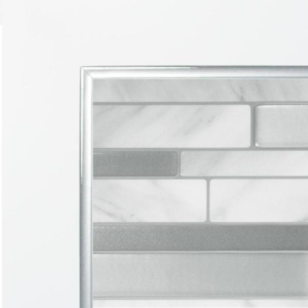 Smart Tiles Smart Edge Brillo 0 27 In W X 18 In H Silver Self Adhesive Decorative Mosaic Wall Tile Trim 8 Pack Se1076 8 The Home Depot