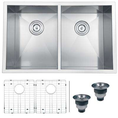Undermount Stainless Steel 30 in. 16-Gauge 50/50 Double Bowl Kitchen Sink