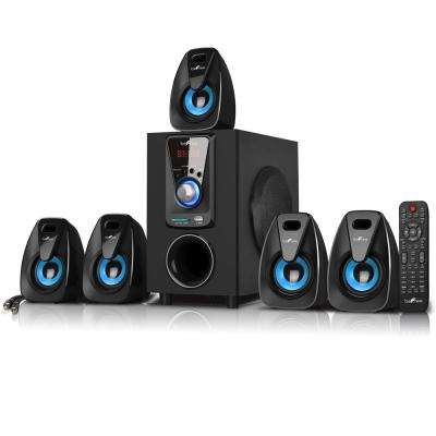 5.1-Channel Surround Sound Bluetooth Speaker System in Blue