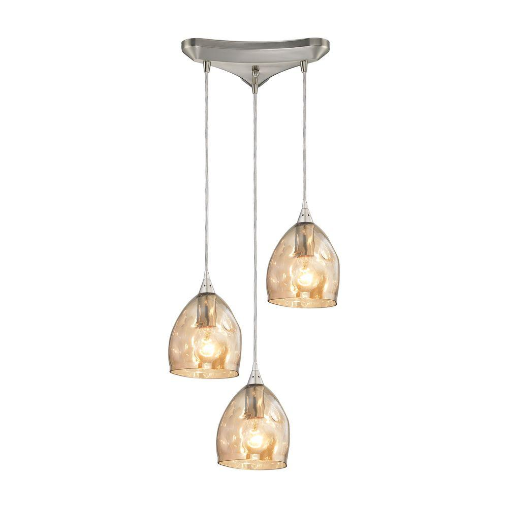 3 light glass pendant chandelier titan lighting niche 3light satin nickel pendant with champagne plated glass