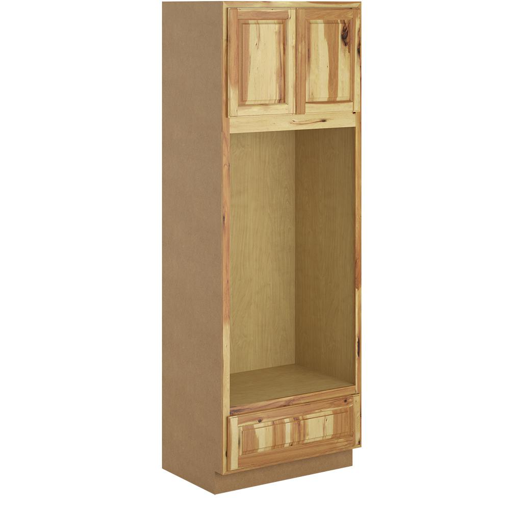 Hampton Bay Madison Assembled 33x96x24 In Pantry Utility Double Oven Cabinet In Hickory Pdo3396