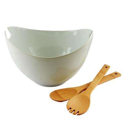 Gracious Dining 10.75 in. 3-Piece White Serving Bowl with Wooden Utensils Set