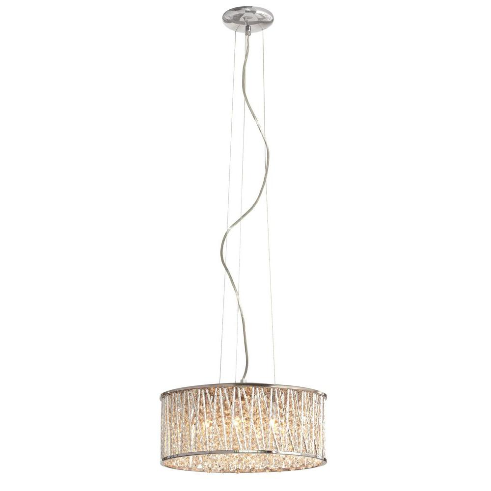 Home Decorators Collection 6 Light Polished Chrome And Crystal Drum Shape  Pendant