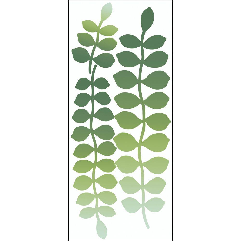 Snap 39.75 in. x 17.125 in. Green Leaf Trail Wall Decal