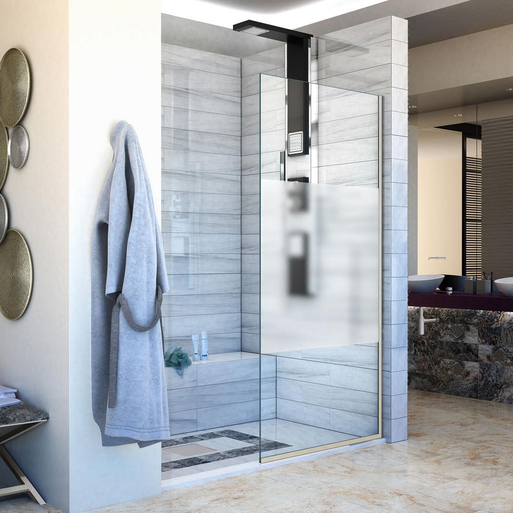 Linea 34 in. W x 72 in. H Frameless Fixed Panel Shower Door in Brushed Nickel
