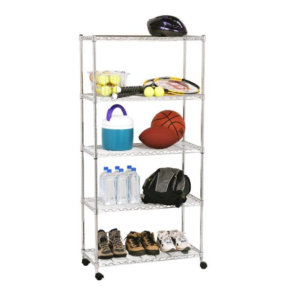 Chrome 5-Tier Steel Wire Shelving Unit (30 in. W x 62 in. H x 14 in. D)
