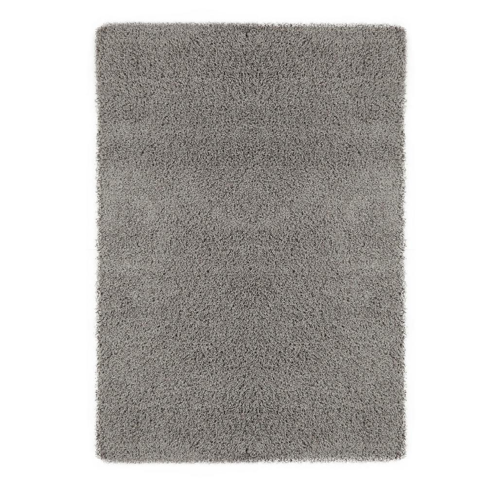 Ottomanson Contemporary Solid Gray 7 Ft X 9 Ft Shag Area Rug Shg2763 7x10 The Home Depot