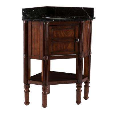 Hollman 32.5 in. W x 23.3 in. D Corner Bath Vanity in Oak Saddle with Black Marble Vanity Top with White Basin