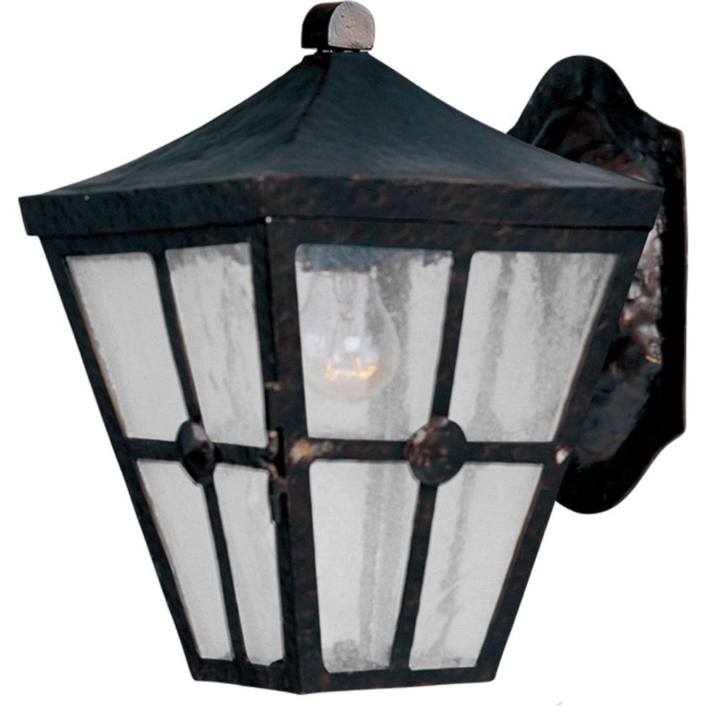 Maxim Lighting Castille-Outdoor Wall Mount Castille is a traditional, early American style collection from Maxim Lighting International in Country Forge finish with Seedy glass.