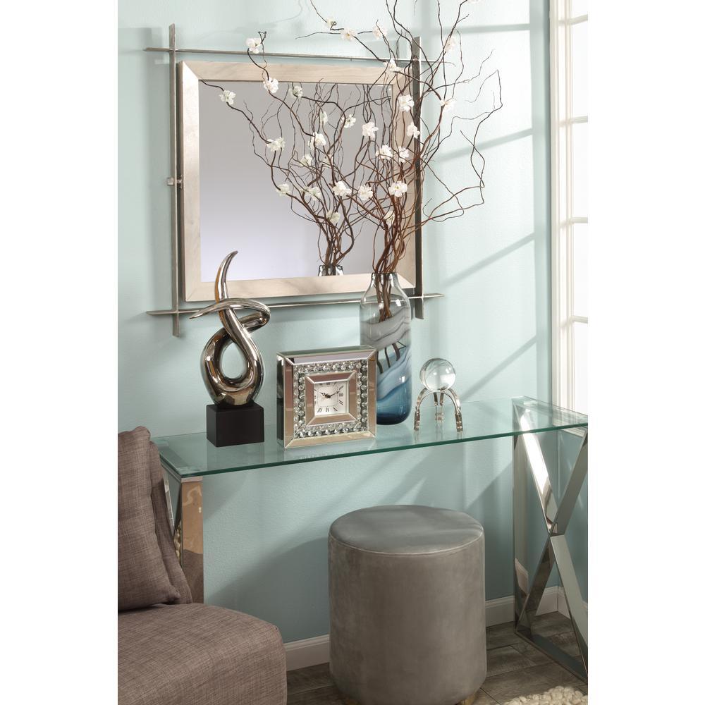 Light Wood/Silver Square Mirror