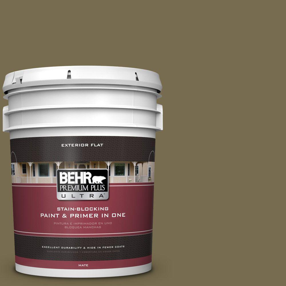 BEHR Premium Plus Ultra 5-gal. #PPU8-1 Olive Flat Exterior Paint