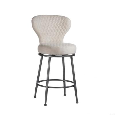 Melange 26 in. Charcoal and Ivory Linen Upholstered Swivel Counter Stool