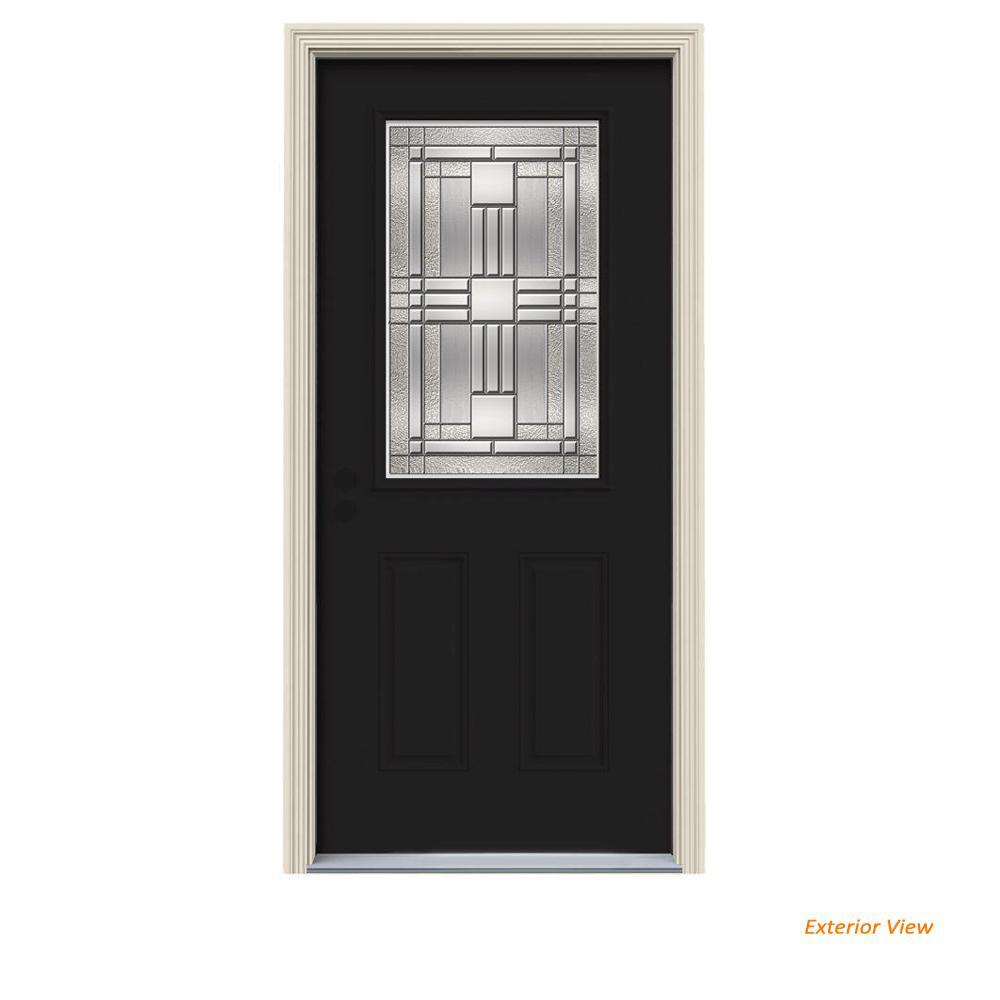 2 Panel Black Front Doors Exterior Doors The Home Depot