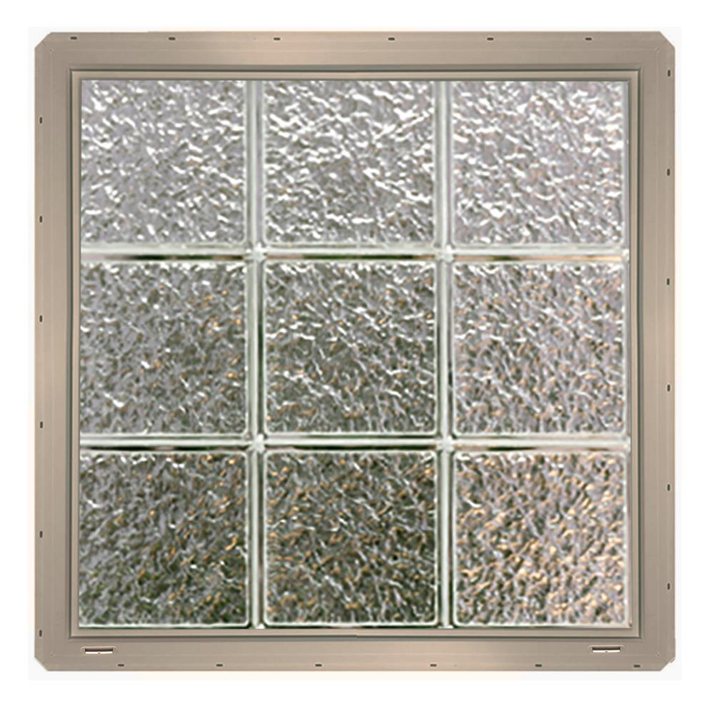 Ice Pattern Gl Block Window With Clay Colored Vinyl Nailing Fin