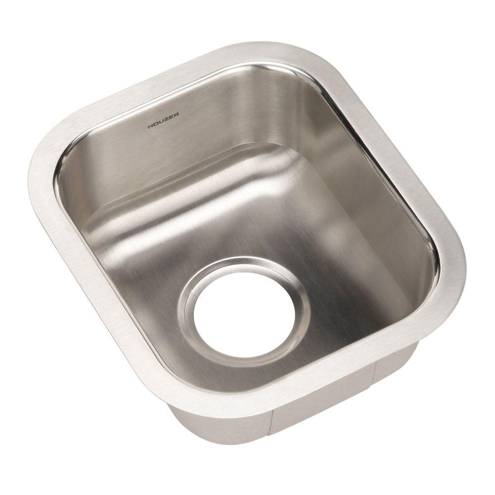 HOUZER Club Series Undermount Stainless Steel 13 In. Single Bowl Kitchen  Sink In Lustrous Satin
