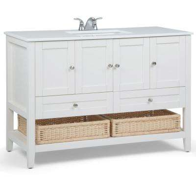 """Newbury 48"""" Contemporary Bath Vanity in Pure White with White Engineered Quartz Marble Extra Thick Top"""