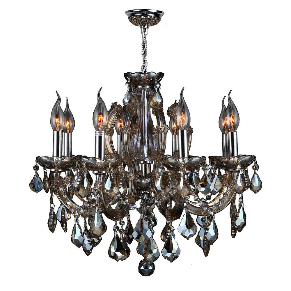 Worldwide Lighting Catherine Collection 6 Light Polished Chrome And Golden Teak Crystal